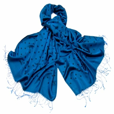 Etole foulard bleu pois soie viscose