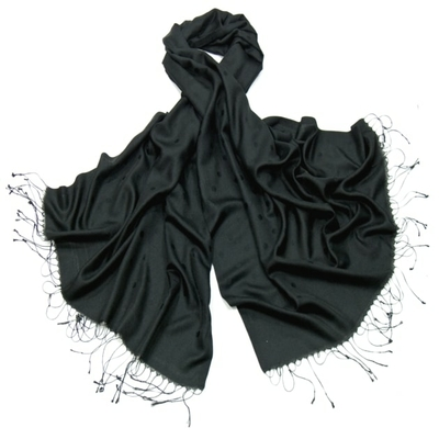 Etole foulard noir pois soie viscose