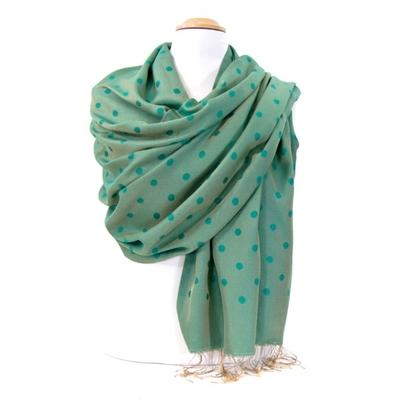 Etole foulard vert pois soie viscose
