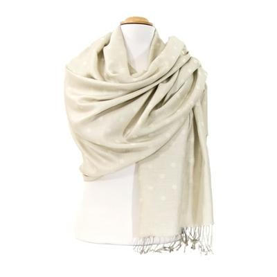 Etole foulard écru pois soie viscose