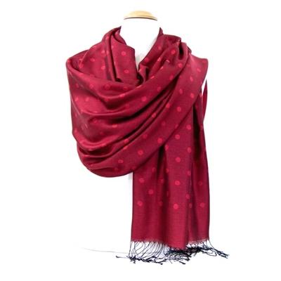 Etole foulard rouge pois soie viscose