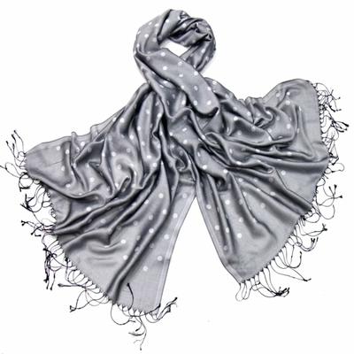 Etole foulard gris pois soie viscose