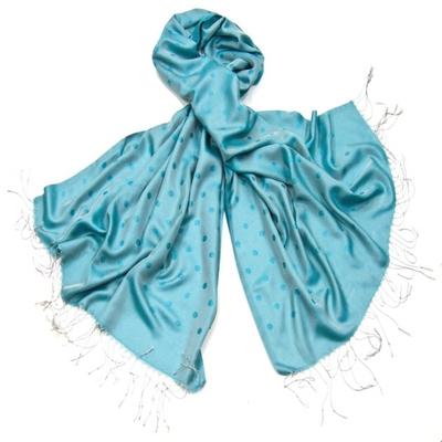 Etole foulard bleu turquoise pois soie viscose