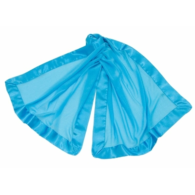 Etole bleu turquoise en crêpe de soie et satin