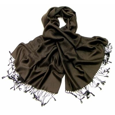 Etole en soie damassée brun