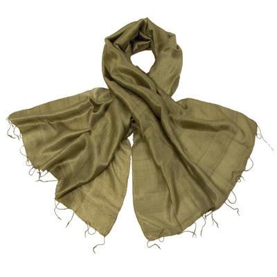 Etole en soie de Thailande vert moyen