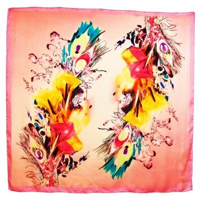 Carré de soie rose plumes 105 x 105 cm premium