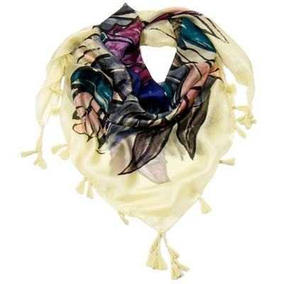 Foulard en soie pompons écru bouquet de fleurs