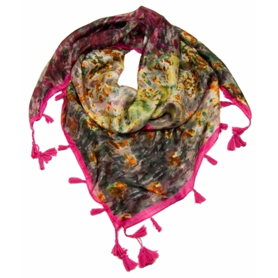 Foulard en soie pompons rose fushia imagine