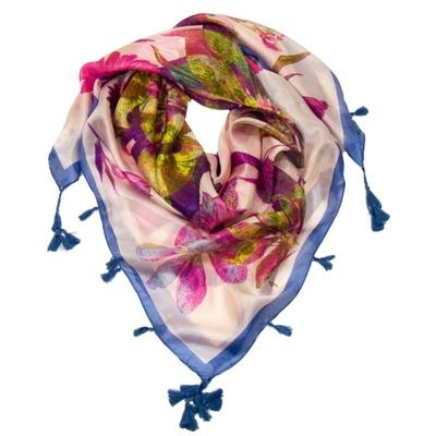 Foulard en soie pompons rose marguerites
