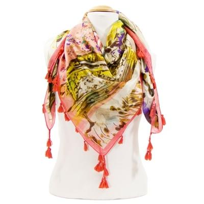 Foulard en soie pompons rose printemps