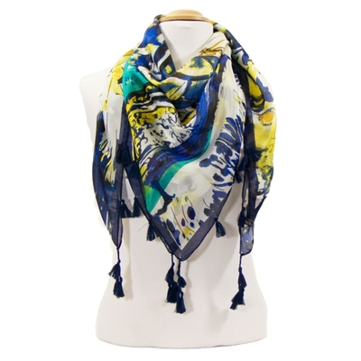 Foulard en soie pompons bleu printemps