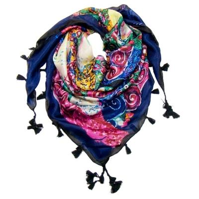 Foulard en soie pompons bleu inspiration Klimt