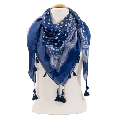 Foulard en soie pompons bleu pois dentelle
