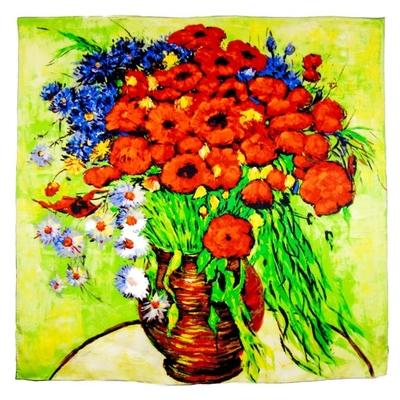 Foulard en soie carré artysilk Marguerites et coquelicots Van Gogh