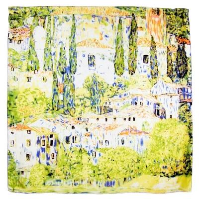 Foulard en soie carré artysilk tableau village