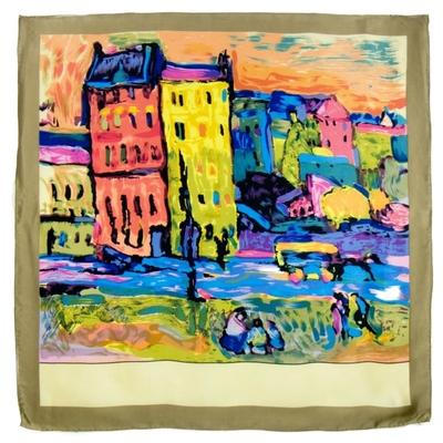 Foulard en soie carré artysilk Case à Monaco Kandisnky