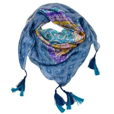 Foulard en soie carré bleu pompons Lily Palme