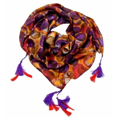 Foulard en soie carré violet pompons Palme