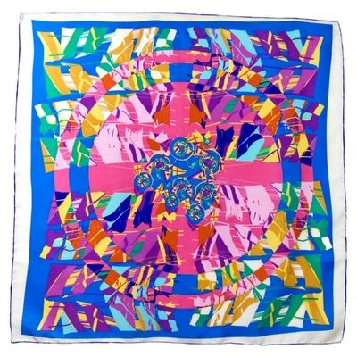 Foulard en soie satin bleu equara premium 90 x 90 cm