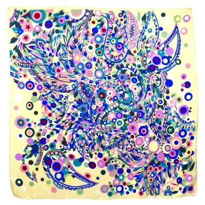 Foulard en soie satin bleu joy premium 90 x 90 cm