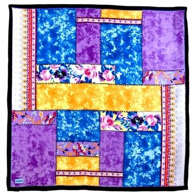 Foulard en soie satin parme patchwork premium 90 x 90 cm