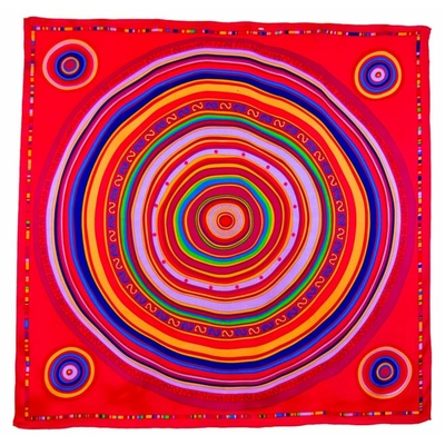 Foulard en soie satin rose fushia cercles premium 90 x 90 cm