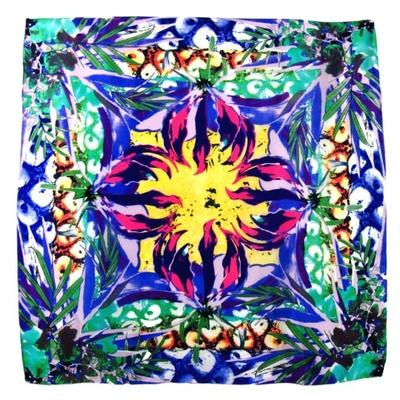 Foulard en soie carré vert eden 85 x 85 cm