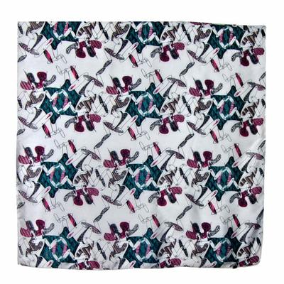 Foulard en soie carré gris modern 85 x 85 cm