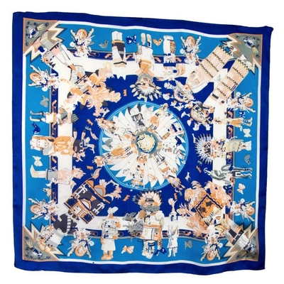 Foulard en soie carré bleu mexico 85 x 85 cm