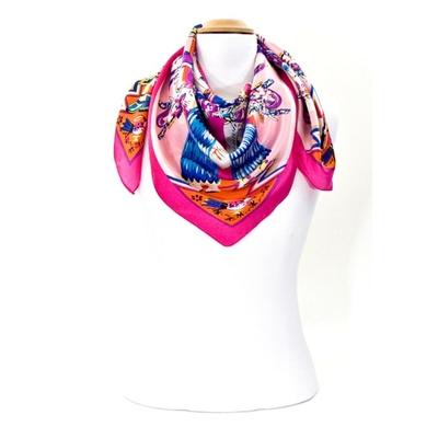 Foulard en soie carré rose mexico 85 x 85 cm