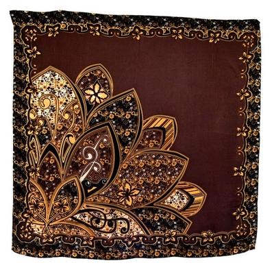 Foulard en soie carré chocolat pétales 85 x 85 cm