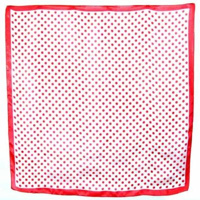 Carré de soie foulard écru pois corail  85 x 85 cm
