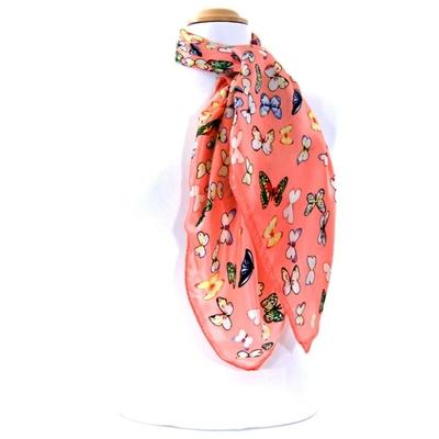 Carré de soie foulard pêche papillons 85 X 85 cm