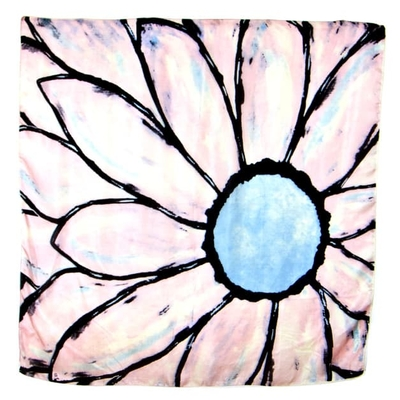 Foulard en soie carré bleu grande fleur Palme 100 x 100 cm