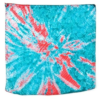 Foulard carré de soie bleu turquoise mirage Palme 50 x 50 cm