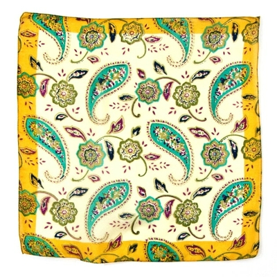 Foulard carré de soie jaune bengali Palme 50 x 50 cm