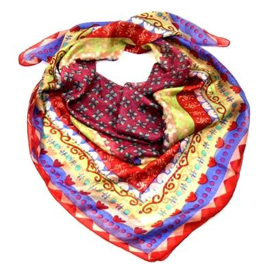 Foulard carré en soie rouge zia Palme 100 x 100 cm