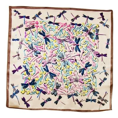 Carré de soie foulard taupe libellules 50x50 premium
