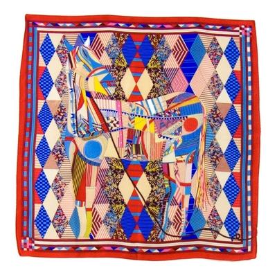 Carré de soie foulard rouge patchy 50x50 premium