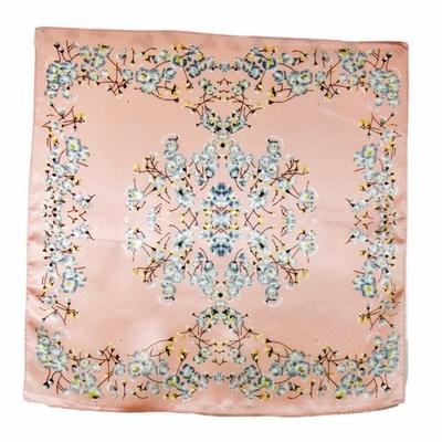 Carré de soie foulard rose bleuets 50x50 premium