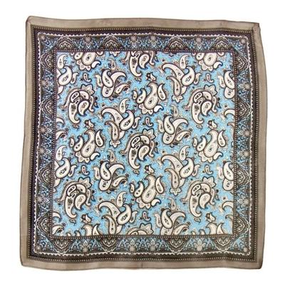 Carré de soie foulard gris indie 50x50 premium