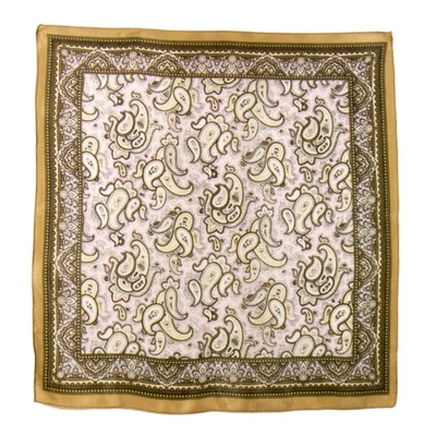 Carré de soie foulard beige indie 50x50 premium