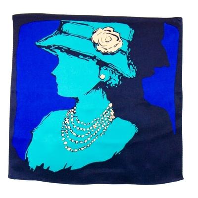 Carré de soie foulard bleu coco 50x50 premium