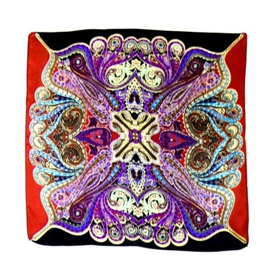 Foulard carré en soie mini rouge sambala 50 x 50 cm