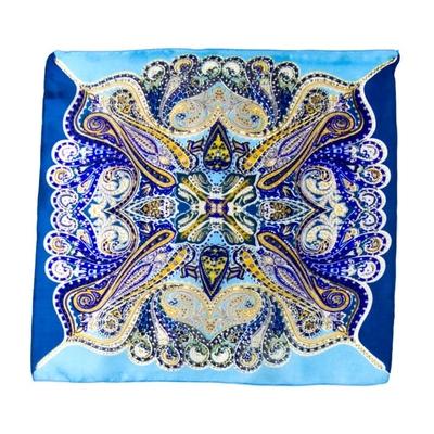 Foulard carré en soie mini bleu sambala  50 x 50 cm