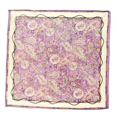 Foulard en soie parme cachemire 50 x 50 cm premium