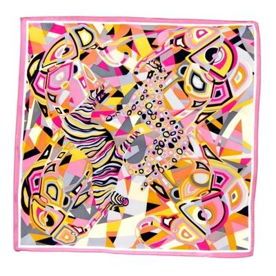 Foulard en soie rose cubisme 50 x 50 cm premium
