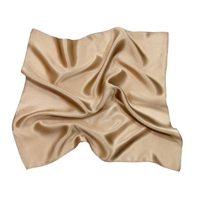 Foulard en soie beige carré mini 50 x 50 cm premium