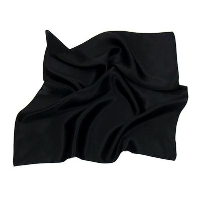 Foulard en soie noir carré mini 50 x 50 cm premium